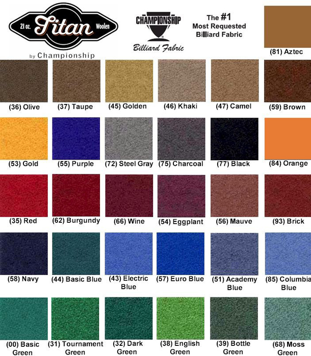 Exceptionnel Standard Woolen Pool Table Felt Colors (Opens In New Window.)